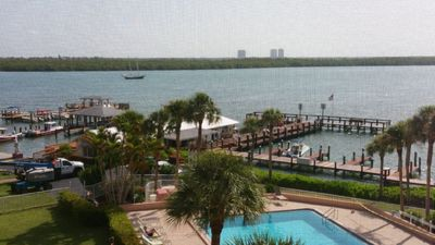 Beautiful View of Marco River and Swimming Pool from the Screened Lanai