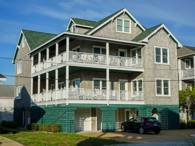 Photo for Recently-renovated 6 BR Townhome Steps from the Beach