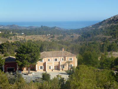 grand villa with spectacular views; taken from hills belonging to property