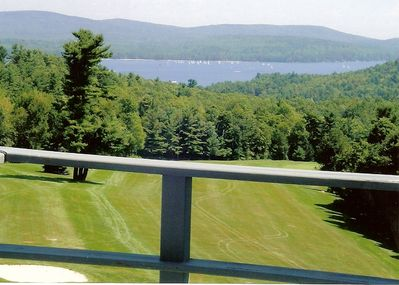 View of lake Sunapee over golf course from all three decks.