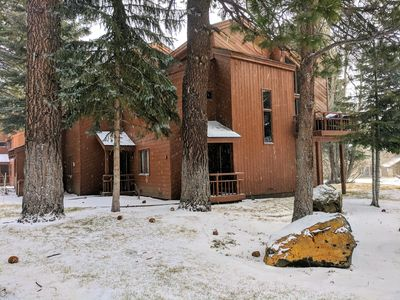 The outside of our unit with a fresh dusting of snow.