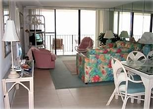 From dining room through living room and balcony to beach