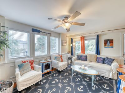 Photo for Colorful, beach-themed condo w/ a shared pool, only one block from the beach!