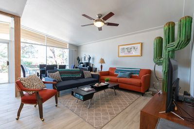 """""""We loved the vibe of the big living area with the Saguaro sculpture""""  -Justine"""