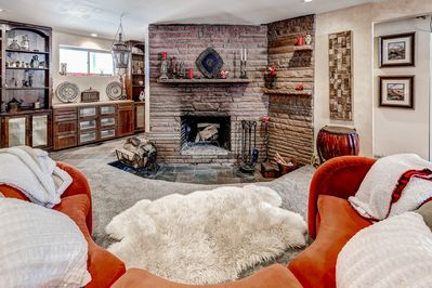 Wood Burning sunken fireplace is awesome