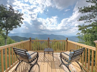 Photo for The most stunning view you've ever seen!! Mountaintop log cabin with hot tub and VIEWS!