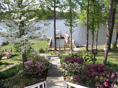 This view is of the dock and courtyard available on property during the spring.
