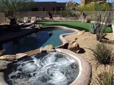 Pool, spa, PGA style professional 3 hole putting green and view