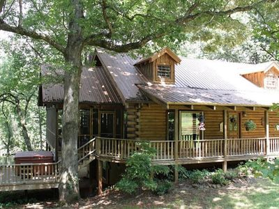 Photo for Magical Log Cabin Home On Wooded Creek with Waterfall!