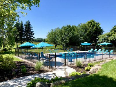 Photo for ALLEGAN ORCHARDS Weddings,Private3acres,Pool,HotTub,Fireplce,FirePit,Beach,Games