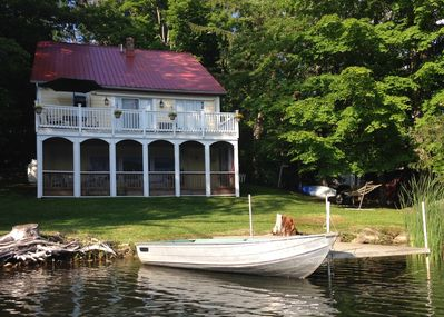 The rear of the house faces the lake.  Our dock provides easy boat access.