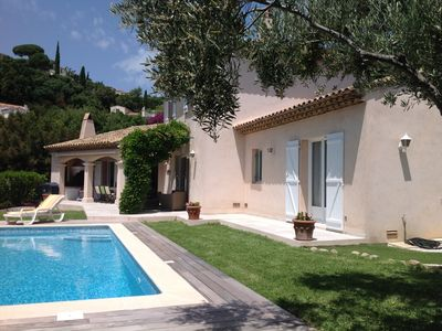 Photo for Villa 150m2 with pool and garden. Magnificent sea and hills. near the beach