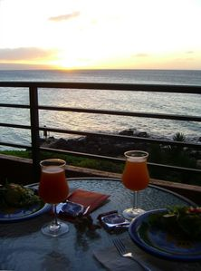 Sunset dining on our condo's lanai/terrace