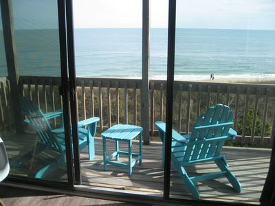 Fantastic expansive view of the beach from your private deck off of your own livingroom at WaveHi!