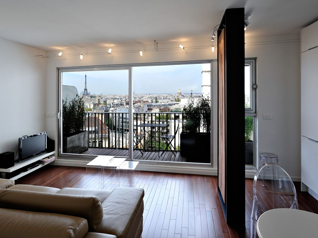 Beautiful Location Vacances Appartement Necker: Salon, Balcon Vue Sur Paris Et Tour  Eiffel