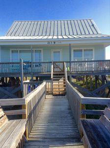 Walkway leads right to the ocean. Side benches for sunning and star gazing.
