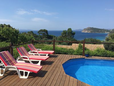 Photo for Villa bottom, 3-4 bdrms, private pool, splendid sea view 7min from sandy beach