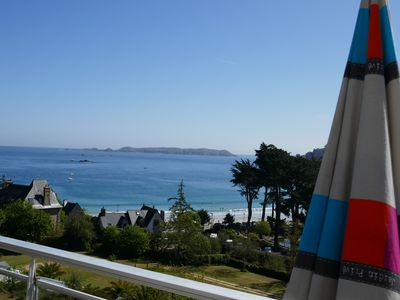 Photo for Perros Guirec, on the beach, veranda + south terrace, bed 2 pl, ea vac, Wifi