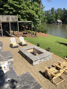 Amazing Fire Pit Area with lake views and plenty of seating!
