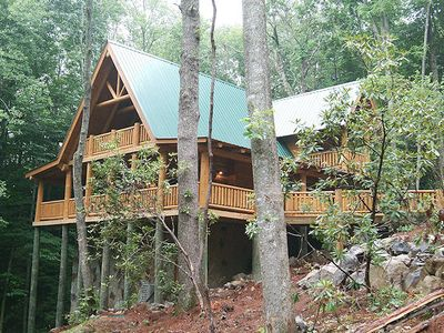 Photo for Private 2 BR Cabin Sleeps 6 Decks On Mountain Stream Hot Tub Jacuzzi Fireplace Kitchen Pool Table