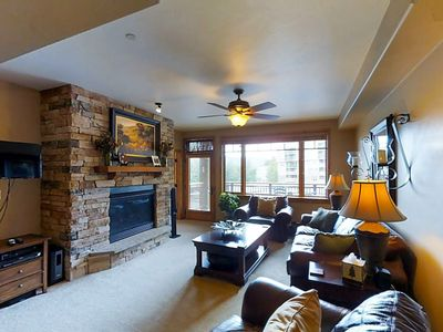 Photo for Luxury mountain condo on lakefront w/ beautiful views, shared hot tub & more!