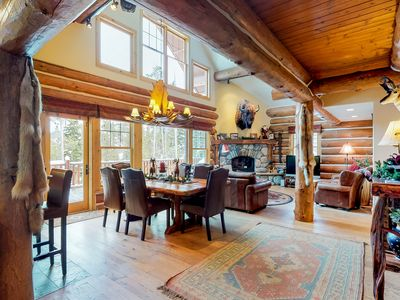 Photo for Large rustic cabin w/ private hot tub & game room - walk to ski lifts!
