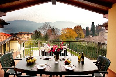 Dine alfresco on your private balcony! Welcome to Griante Residence.
