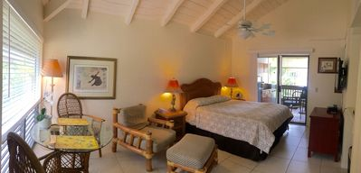 Big lanai awaits your morning coffee right off your bedroom or watch a Netflix.