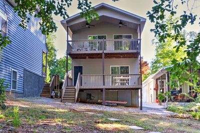 Enjoy the fresh air and scenic views from this two-story back deck.