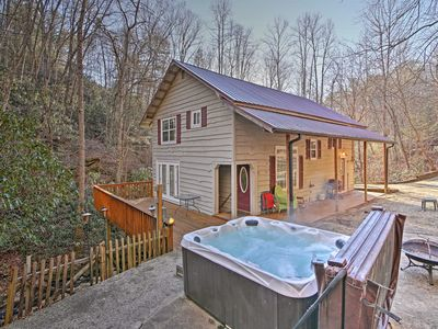 Photo for Bryson City Cottage w/ Hot Tub & Waterfall Views!