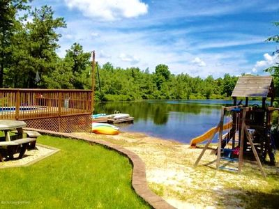 Photo for Pocono Lakefront Onsite Swimming Pool/Hot Tub, Playset/2 docks/Sandy Beach/Boats