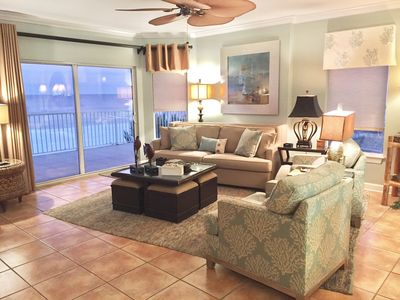 Spacious Living Room with extra long Sofa Opens to Beach Front Balcony