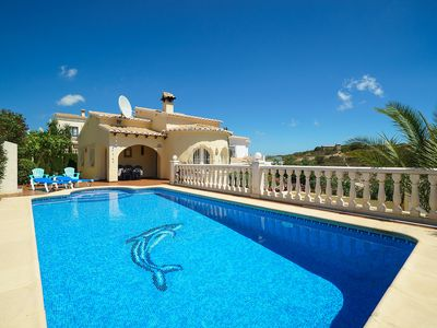 Photo for This 2-bedroom villa for up to 4 guests is located in Moraira and has a private swimming pool, air-c