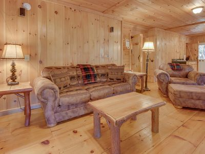 Photo for Cozy cabin w/ a hot tub, an air hockey table, and amazing mountain views!