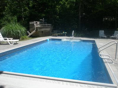 Photo for Inground Pool with patio, and large deck, ship playhouse and swing set