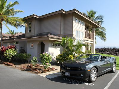 Front of our home with reserved parking!  Camaro not included. :-)