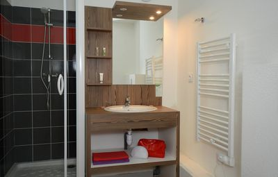 Prepare for your day outside in the spacious bathroom.