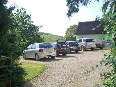 Front garden car parking from the entrance gate.