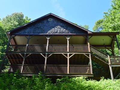 Photo for Private cabin on stream great for fishing, AC, Wi-Fi, less than 20 mins to Boone