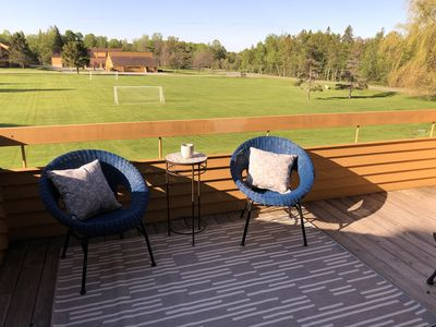 The deck overlooking Boyne Highlands and the Trout Creek field.  Peaceful!