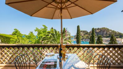 Photo for The Baia Mazzarò terrace, holiday apartment with stunning sea view.