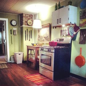 The kitchen is stocked for cooking and entertaining.