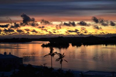 Sunrise over St. George harbour from Quarterdeck