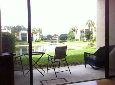 Right on the lake, with a beautiful long view.  Watch the birds, turtles, fish.
