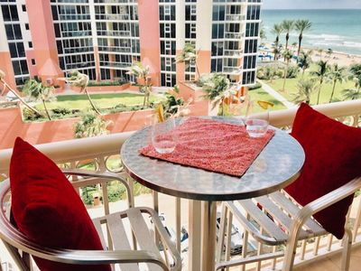 Photo for Sunny Isles Beach studio on the beach with ocean view balcony. Book today!