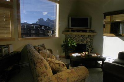 Relax, enjoy the views of the Three Sisters mountains from your living room.