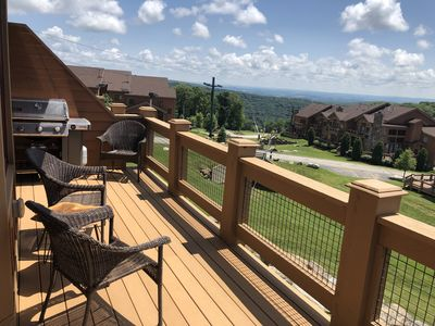 Amazing views from the main level back deck. Weber gas grill ready to go!