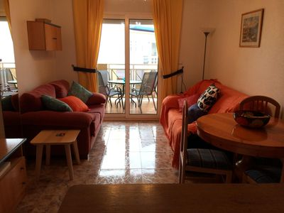 Photo for 2 bedroom, 2 bathroom apartment, lovely pool and nearby beaches. Seafront.