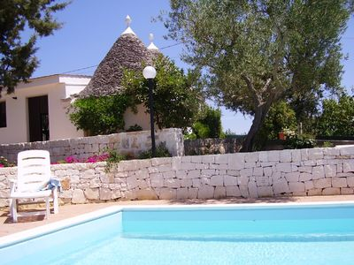 The trulli and the pool