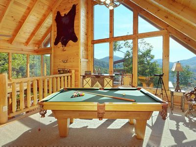 Photo for Expansive cabin with indoor/outdoor fireplaces, game room, bar, and free passes to local attractions